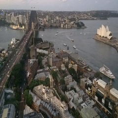 Timelapse Aerial view of  Sydney Harbour turn from dusk to night Stock Footage