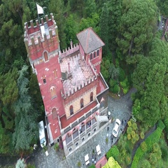 Landscape of a small castle during an event Stock Footage