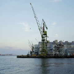 Industrial crane in kobe harbour town, japan Stock Footage