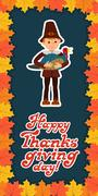 Happy thanksgiving day card with child leafs and congratulation lettering Stock Illustration