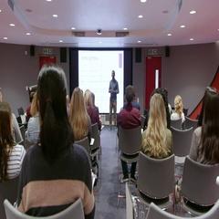 Teacher using an AV screen in a university classroom, shot on R3D Arkistovideo