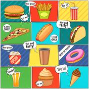 Fast Food Comic Panels Collection Poster Stock Illustration