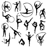 Black Gymnastics Female Silhouettes Stock Illustration