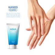 Hand Care Cream Realistic Poster Stock Illustration