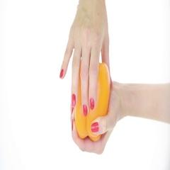 Imitation sex. masturbation concept. female hand caresses paprika. vagina Arkistovideo