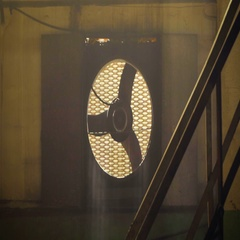 Industrial Sized Ventilator Fans In An Underground Building Stock Footage