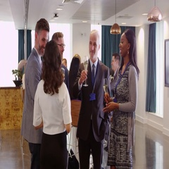 Delegates Network At Conference Drinks Reception Shot On R3D Stock Footage