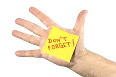 Don't Forget Note In Palm of Hand Stock Photos
