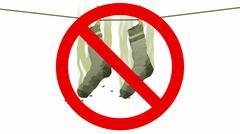 Smelly socks in Prohibited sign, 3d illustration Stock Illustration