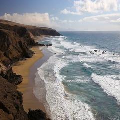 La Pared beach on Fuerteventura island, Canary Islands, Spain. Stock Footage