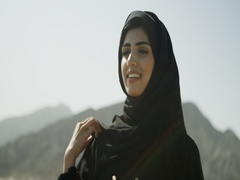 Arab woman smiling. Stock Footage