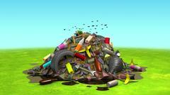 Landfill on the Lawn, 3d illustration Stock Illustration