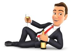 3d businessman lying on the floor with champagne Stock Illustration