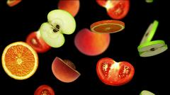 Sliced pieces of fruits falling on black background, 3d illustration Stock Illustration