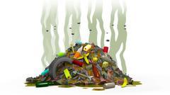 Garbage dump with flies, 3d illustration Stock Illustration