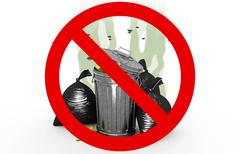 Smelly garbage bin and bags in Prohibited sign, 3d illustration Stock Illustration