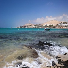 Costa Calma sandy beach on Fuerteventura, Canary Islands, Spain. Stock Footage