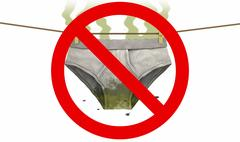 Dirty underwear in Prohibited sign, 3d illustration Stock Illustration
