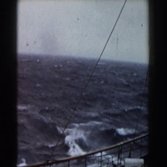1959: ride in a large vessel on a body of water that seems to be rough Stock Footage