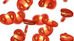 Sections of tomato falling on white background, 3d illustration Stock Illustration
