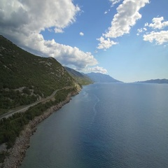 Aerial, Flying Along Croatian Coast-Line - Native Material Stock Footage
