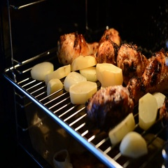 Chicken Cooked in the Oven Stock Footage