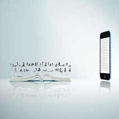 Text flows from a book page to a phone. Digital Smartphone E-book concept. Stock Footage