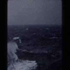 1959: boat travelling through rough waters and high winds Stock Footage