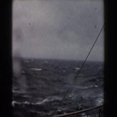 1959: merchant ship sailing through choppy seas. Stock Footage