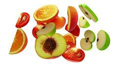 Fruit segments on white background, 3d illustration Stock Illustration
