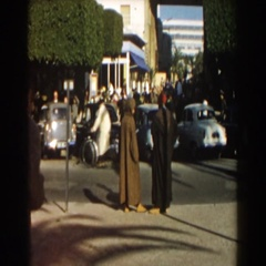 1959: a group of people standing on a sidewalk outside CASABLANCA Arkistovideo