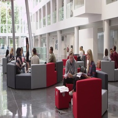 Groups of students working together a university lobby, shot on R3D Stock Footage