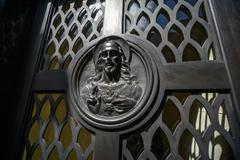 Jesus Christ image on a tomb Stock Photos