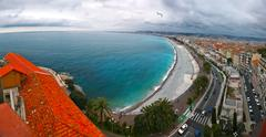 Front view of the Mediterranean sea, bay  Angels, Nice, France Stock Photos
