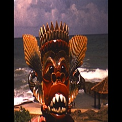 Vintage 16mm film, 1958, Ceylon, ceremonial dance masks Stock Footage