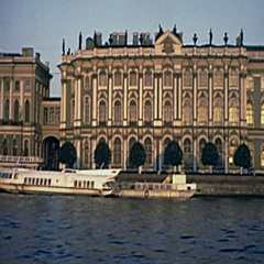 Leningrad 1975: Hermitage Museum view from the boat Stock Footage