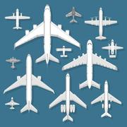 Airplane top view vector illustration. Stock Illustration