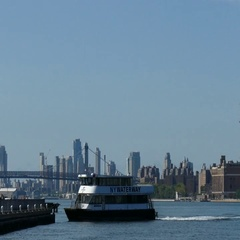 New York City Ferry Docking in Long Island City, East River, Manhattan Stock Footage