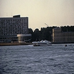Leningrad 1975: sightseeing ferry in the Neva river Stock Footage