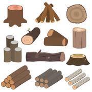 Wood materials logs vector Stock Illustration