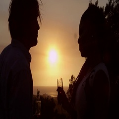 Romantic couple make a toast and admire the sunset, shot on R3D Stock Footage
