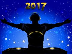 New Years 2017 DJ silhouette and record decks background Stock Illustration