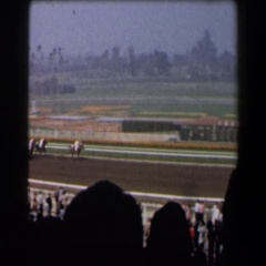 1958: a terrific horse race progressing before a massive spectators CALIFORNIA Stock Footage