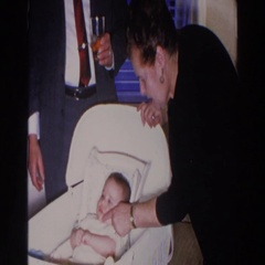 1966: family gathering with grandparents and baby. MADISON WISCONSIN Stock Footage