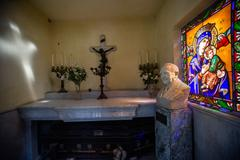 Interior view of a tomb with stained glass at the La Recoleta Cemetery Stock Photos