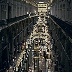 Moscow 1975: crowd in an indoor market Stock Footage