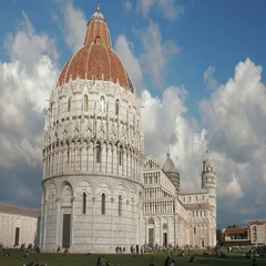 Piazza dei Miracoli in Pisa, with the baptistery and the famous leaning tower Stock Footage