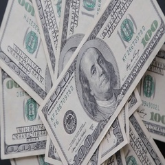 Rotating 100 US dollars bank notes business background Stock Footage
