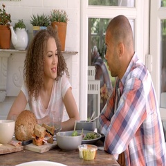 Couple At Home Eating Meal On Outdoor Verandah Together Stock Footage