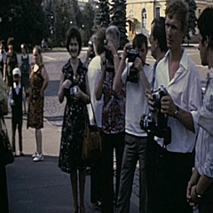 Moscow 1975: people take picture downtown Stock Footage